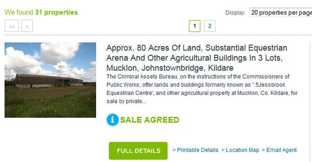 Sales blurb on auctioneers website stating 'sale agreed' for Jessbrook
