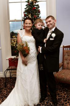 Roseann Cleary (37) was walked down the aisle by her three year-old son JJ when she married her husband Justin Kennedy in Co Offaly last week.