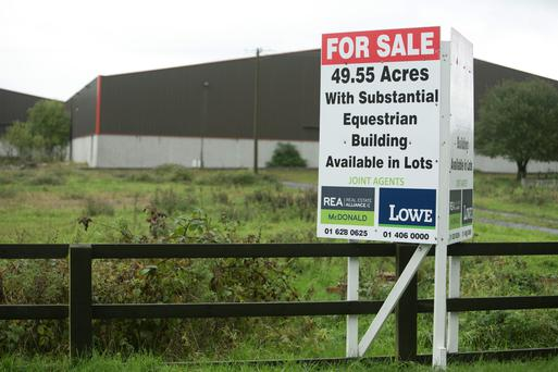 The 'sale agreed' sign at the Jessbrook Equestrian Centre