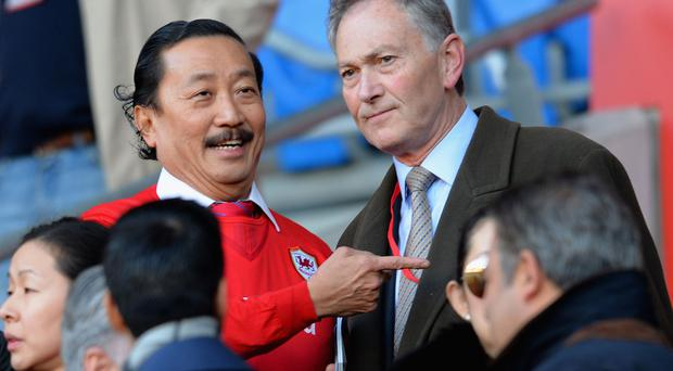 Cardiff City owner Vincent Tan with Chief Executive of the Premier League Richard Scudamore
