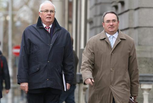 National Asset Management Agency chairman Frank Daly (left) and chief executive Brendan McDonagh as they arrived at Leinster House before they appeared before the Public Accounts Committee yesterday. Picture: Frank McGrath