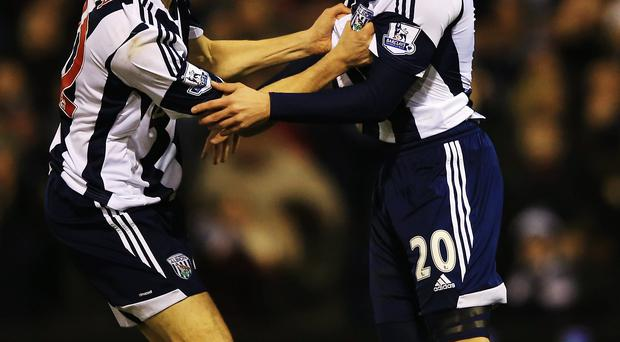 Matej Vydra (R) of West Bromwich Albion celebrates with team mate Zoltan Gera after scoring during the Barclays Premier League match between West Bromwich Albion and Hull City at The Hawthorns on December 21, 2013 in West Bromwich, England. (Photo by Richard Heathcote/Getty Images)