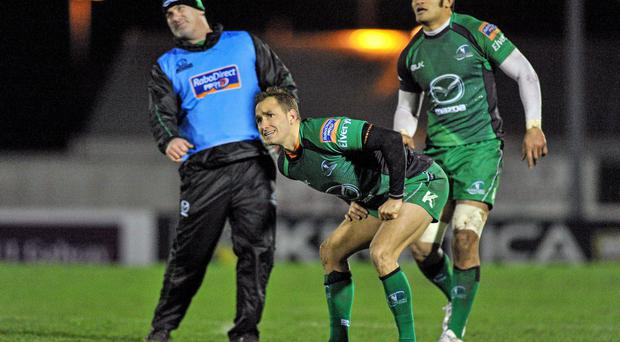 Dan Parks , Connacht, looks on as his penalty attempt goes wide. Celtic League 2013/14, Round 10, Connacht v Newport Gwent Dragons, Sportsground, Galway. Picture credit: Ray Ryan / SPORTSFILE