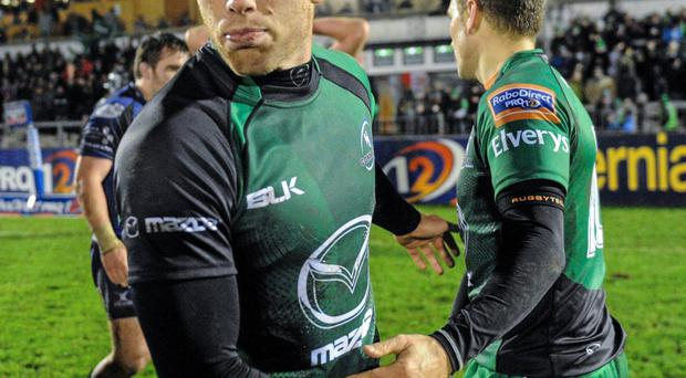 Connacht's Gavin Duffy and team-mate Dan Parks will leave the province at the end of the season