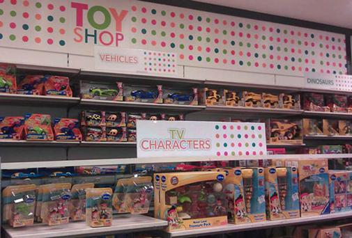 LET TOYS BE TOYS: New signs in Debenhams' toy departments, Debenhams, Toys R Us, Boots