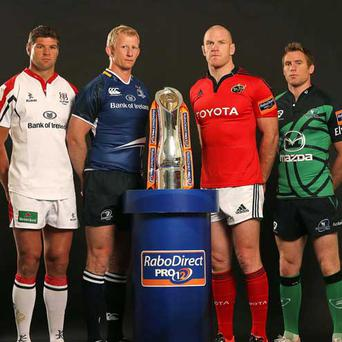 Provincial captains(L-R) Johann Muller (Ulster), Leo Cullen (Leinster), Paul O'Connell (Munster) and Gavin Duffy (Connacht)