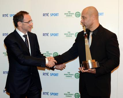 Former Republic of Ireland international Paul McGrath was inducted into the RTÉ Sports Awards Hall of Fame. He was presented with his trophy by Martin O'Neill, Republic of Ireland Soccer Manager.