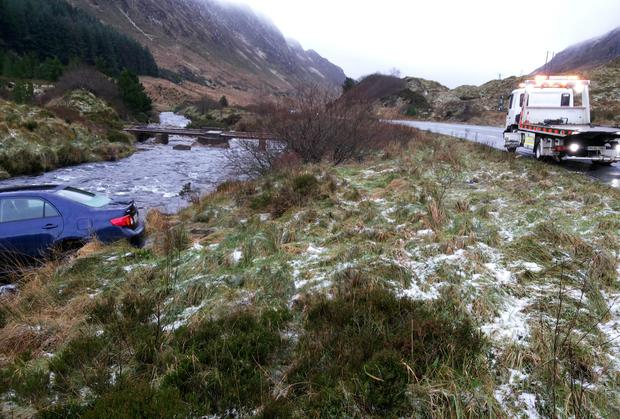 The scene where a car went off the road on the Barnsmore Gap in Co Donegal.