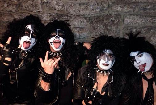 Leinster rugby stars dressed as glam rockers Kiss for their Christmas party, from left Dave Kearney, Brendan Macken, Rob Kearney and Brian O'Driscoll