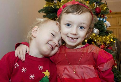 Lily Mae Morrison with her brother Evan at home in Claregalway, Co Galway, for the Christmas. Picture: Andrew Downes