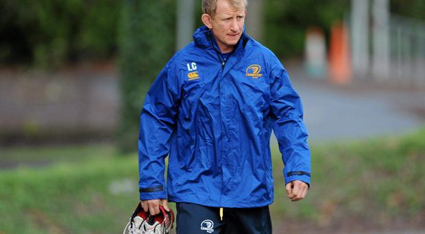 Leinster's Leo Cullen arrvies for squad training ahead of their match against Ulster on Saturday