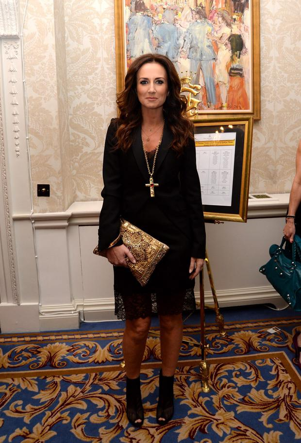 23 Dec 013; Lorraine Keane at the RESPECT Christmas Variety Lunch, Shelbourne Hotel, Dublin. Picture: Caroline Quinn Lorraine will be wearing a dress by Marion Murphy Cooney this evening