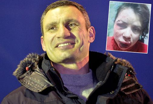 Vitali Klitschko, has called for a nationwide boycott of the government following the assault on Tetyana Chernovil (inset)