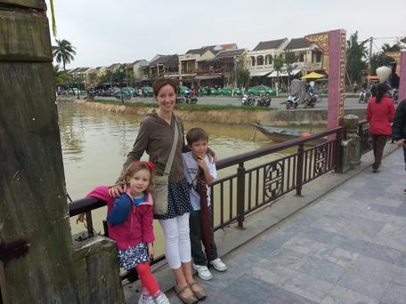 Tara and Aoife and Liam Fagan at the Japanese Bridge in Hoi An, Vietnam on Xmas Day 2013 Pic: Michael Fagan