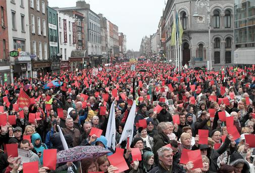 Anger: 5,000 turn out for anti-property tax protest outside Dublin City Hall. Declan Masterson Photography
