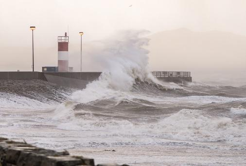 Fabulously stormy weather at Buncrana pier in Inishowen, County Donegal.