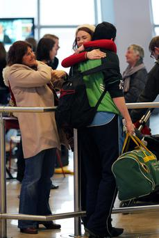 Family members are greeted by loved ones at Dublin Airport, however figures reveal high immigration rates