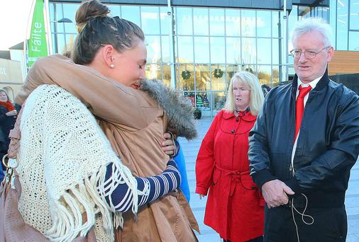 Pictured at The Emigrant Flame in New Ross, Co Wexford is Caroline OConnor originally from Waterford and now living in Melbourne, Australia was reunited with her family.