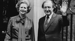 Charles Haughey, on the steps of 10 Downing Street with Margaret Thatcher.