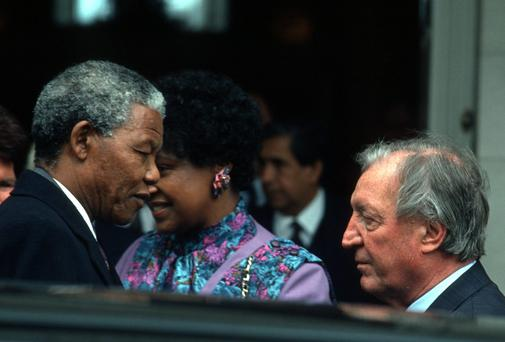 Nelson Mandela with his wife Winnie with then Taoiseach Charles Haughey
