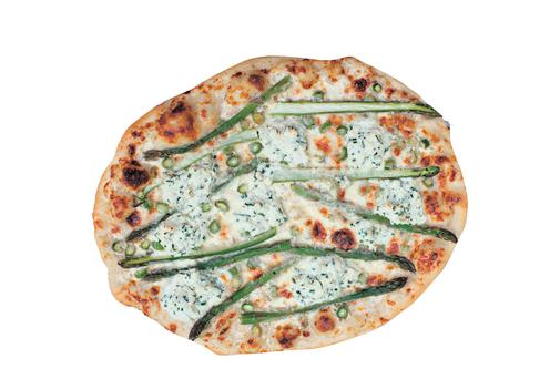 Pizza with asparagus, ricotta and parmesan.