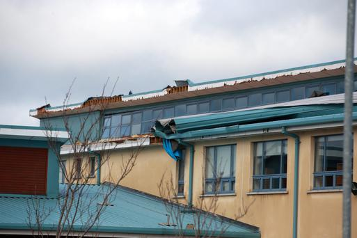 A large section of roof was blown off the Colaiste Cois Life school on Castle Road, Lucan, causing substantial damage.