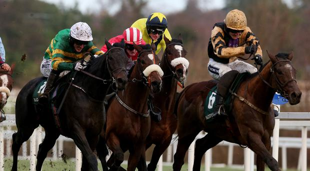 Plinth ridden by Tony McCoy (left) race to the finish on the way to winning the Paddy Power iPad app 3-Y-O Maiden Hurdle ahead of Ivan Grozny ridden by Ruby Walsh (right) during day two of the Leopardstown Christmas Festival