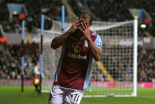 Aston Villa's Gabriel Agbonlahor dejected after a missed chance during the Barclays Premier League match at Villa Park