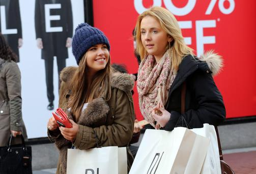 Shoppers in pursuit of bargains at the Christmas sales on Dublin's Grafton Street.