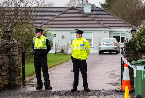 Gardai at house where an incident with a firearm took place on the Sligo to Strandhill road in Sligo, yesterday.