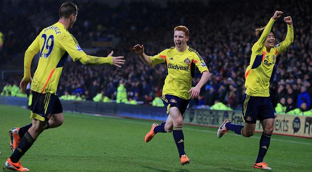 Sunderland's Jack Colback (centre) celebrates with his team-mates after scoring his team's second goal
