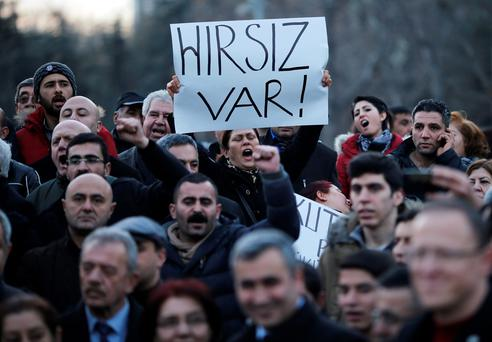 Demonstrators protest against Turkey's ruling Ak Party