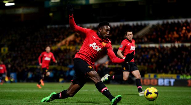 Danny Welbeck scores the only goal of the game to secure three points for Manchester United against Norwich City