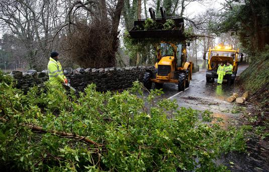 Fallen tree's are cleared in north Antrim as power companies have been condemned for failing to restore supplies to thousands of households as the UK suffered a second major storm over the Christmas holiday