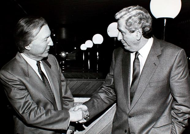 Former Taoisigh Charles Haughey and Dr Garret Fitzgerald