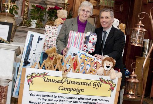 Sr Patricia Somers and Fiachra Morrison at the Pro-Cathedral in Dublin, where they are holding their unused and unwanted gift campaign in association with Crosscare. Picture: EL KEEGAN