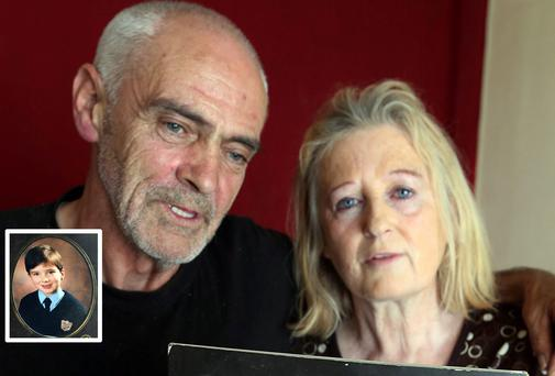 Larry and Elizabeth Johnson, parents of mistaken identity victim Dean Johnson (inset as a boy)