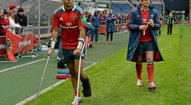 Simon Zebo, left, has been out of action with a foot injury since October