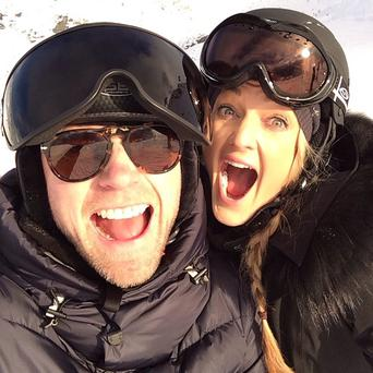 Ronan Keating and girlfriend Storm Uechtritz skiing in the Swiss Alps