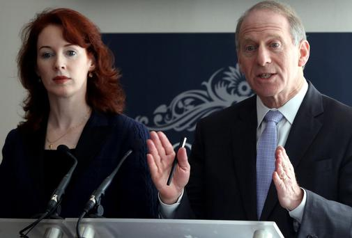 Former US diplomat Richard Haass, with Harvard professor Meghan O'Sullivan, speaking to the media at the Stormont Hotel, Belfast