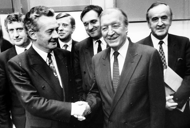 Des O'Malley with Charles Haughey. He has recalled being protected by Dail ushers to walk from the Dail members' restaurant to the plinth