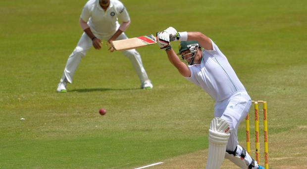South Africa's Jacques Kallis plays a shot during the third day of the second cricket test match against India in Durban