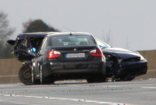 The scene of the three-car crash on the M6 in which Lucia Cleary was critically injured