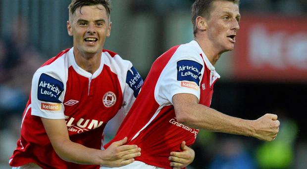 26 July 2013; St. Patricks Athletic's Anto Flood, right, celebrates after scoring his side's first goal with team-mate Greg Bolger. Airtricity League Premier Division, St. Patricks Athletic v Cork City, Richmond Park, Dublin. Picture credit: David Maher / SPORTSFILE