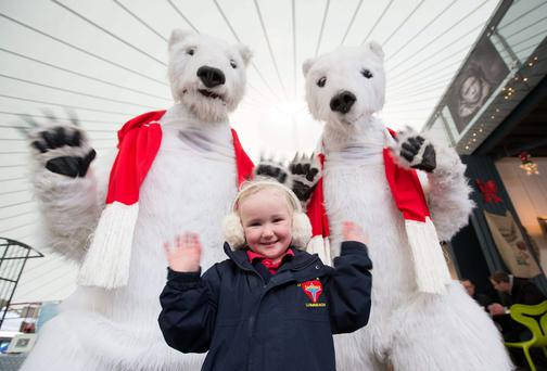 Aoife Lynch, Garryowen Limerick get a surprise by Bui Bolg's Polar Bears who popped into The Milk Market for the official launch of Limerick City Of Culture NYE.