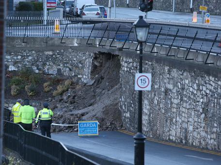 A wall which collapsed underneath the footpath on Conyngham Road in Dublin. Picture credit; Damien Eagers/Herald