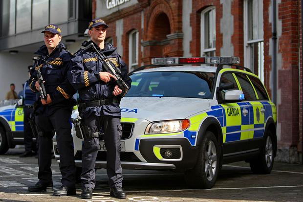 Armed Gardai beside one of the vehicles of the newly formed Eastern Region Armed Response Unit.