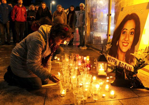 A candlelight vigil to mark the first anniversary of the tragic death of Savita Halappanavar at University Hospital Galway last year