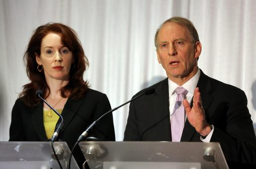 Dr Richard Haass with Megan O'Sullivan at the Stormont hotel in Belfast, where all party talks failed to secure a deal.