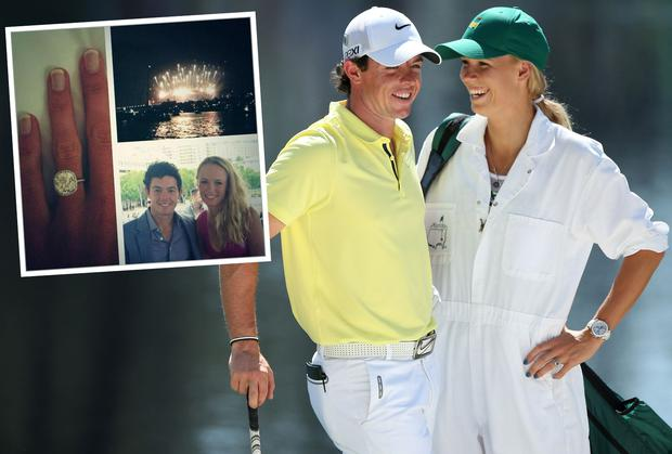 Rory and Caroline. Inset: The image posted on Twitter of the engagement ring